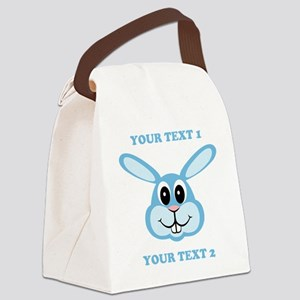 PERSONALIZE Blue Bunny Canvas Lunch Bag