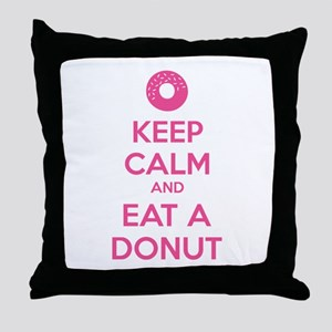 Keep calm and eat a donut Throw Pillow