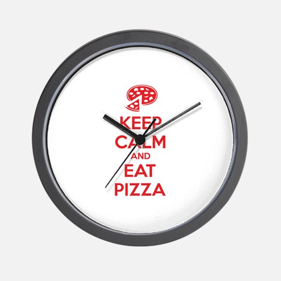 Keep calm and eat pizza Wall Clock