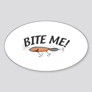 Funny Bite Me Fishing Lure Oval Sticker