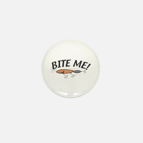 Funny Bite Me Fishing Lure Mini Button