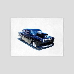 Black POW Classic Car 5'x7'Area Rug
