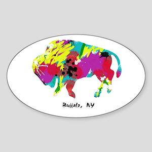 Artsy Buffalo Oval Sticker