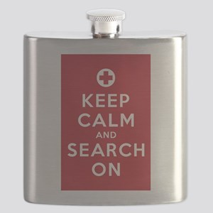 Keep Calm and Search On (First Aid symbol) Flask