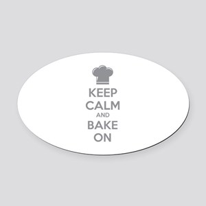Keep calm and bake on Oval Car Magnet