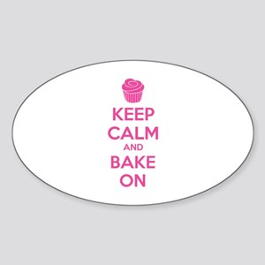 Keep calm and bake on Sticker (Oval)