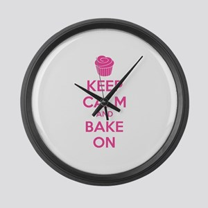Keep calm and bake on Large Wall Clock