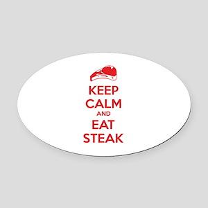 Keep calm and eat steak Oval Car Magnet