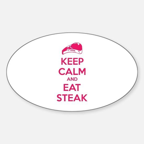 Keep calm and eat steak Sticker (Oval)