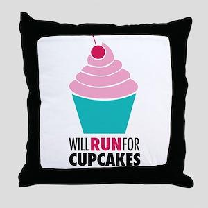 Will Run for Cupcakes Throw Pillow