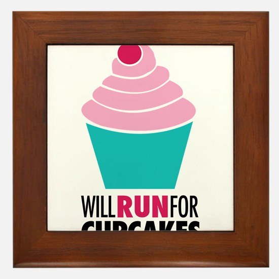 Will Run for Cupcakes Framed Tile