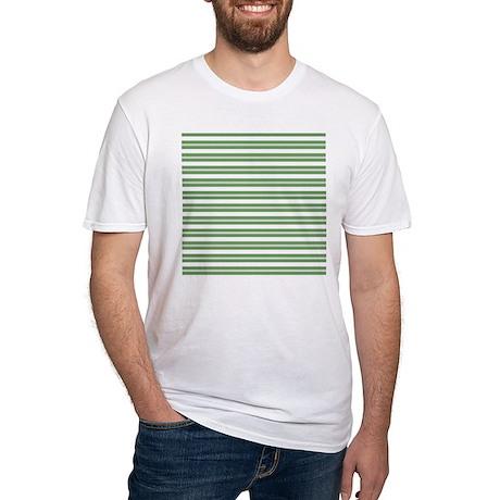 Green White Horizontal Stripes Fitted T-Shirt Green White ...