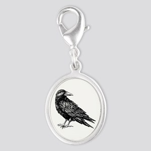 Raven Silver Oval Charm