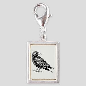 Raven Silver Portrait Charm