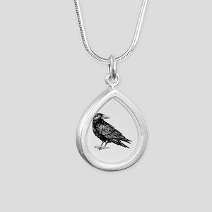 Raven Silver Teardrop Necklace