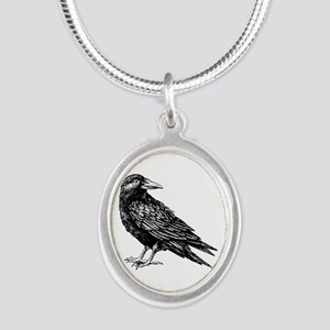 Raven Silver Oval Necklace