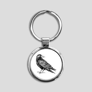 Raven Round Keychain