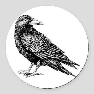 Raven Round Car Magnet