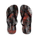 Abstract Red And Black Flip Flops