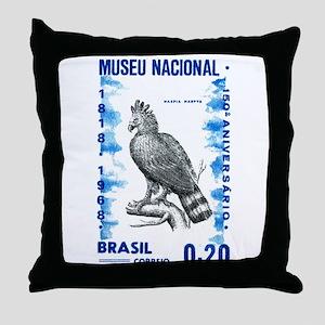 Vintage 1968 Brazil Eagle Postage Stamp Throw Pill