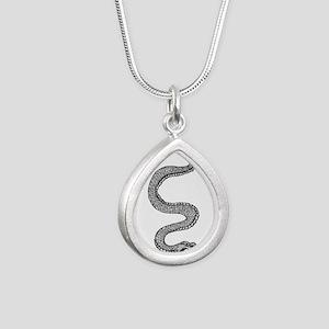 Snake Silver Teardrop Necklace
