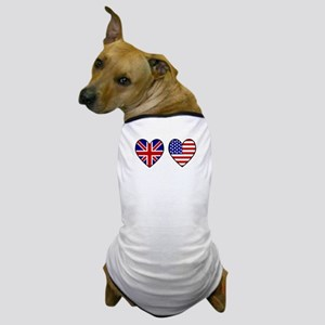 Union Jack / USA Heart Flags Dog T-Shirt