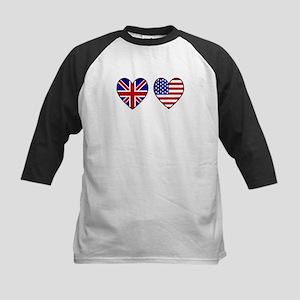 Union Jack / USA Heart Flags Kids Baseball Jersey