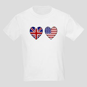 Union Jack / USA Heart Flags Kids T-Shirt