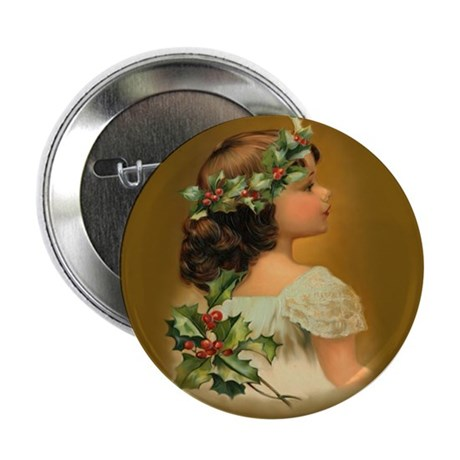 Holly Girl Button