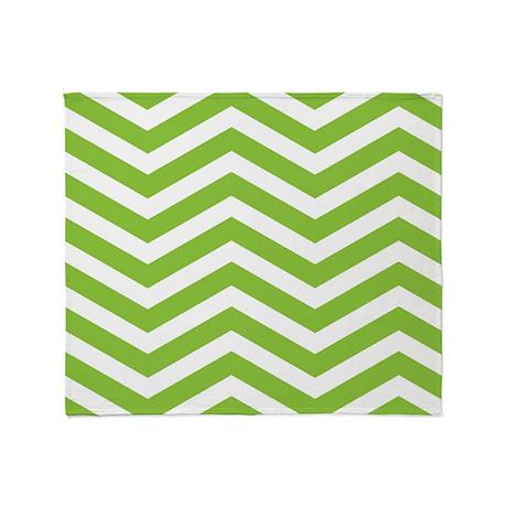 Green Chevron Stripes Throw Blanket
