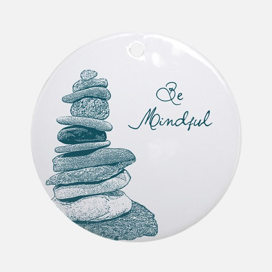 Be Mindful Cairn Rocks Ornament (Round)