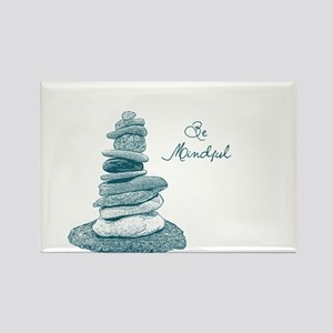 Be Mindful Cairn Rocks Rectangle Magnet