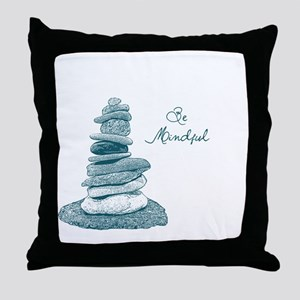 Be Mindful Cairn Rocks Throw Pillow