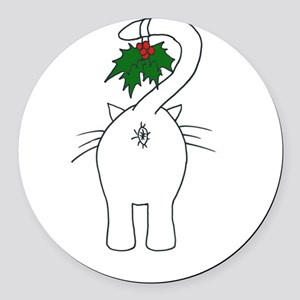 Season's Greetings From Our Cat Round Car Magnet