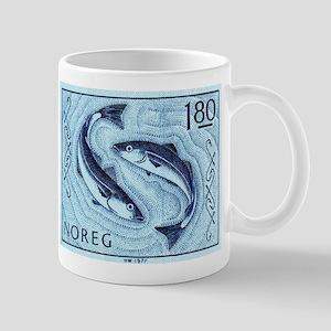 Vintage 1977 Norway Cod Postage Stamp Mug