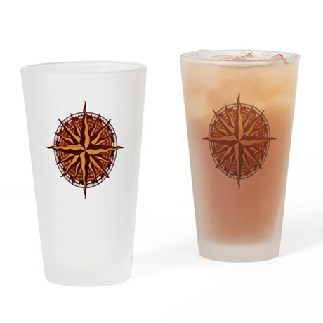 Compass Rose Wood Drinking Glass