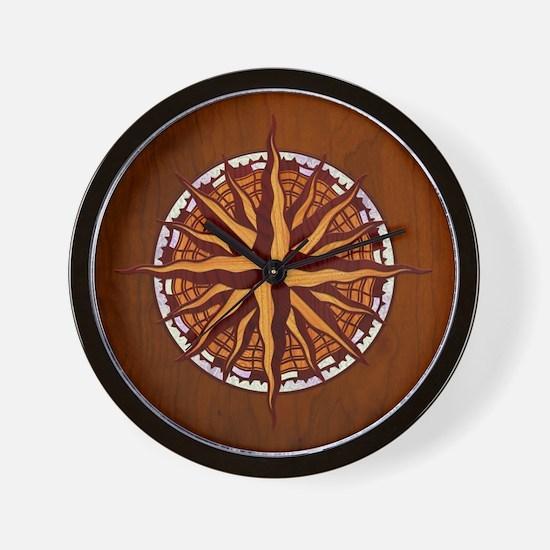 Compass Rose Wood Wall Clock