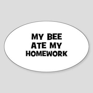 My Bee Ate My Homework Oval Sticker