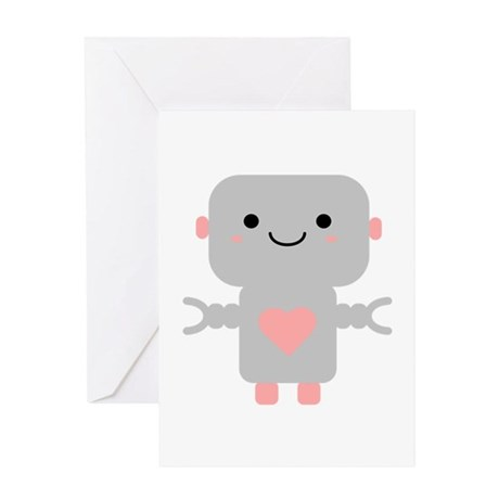 Cute Kawaii Robot Greeting Cards