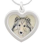 Shetland Sheepdog Silver Heart Necklace