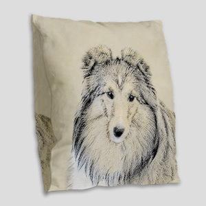 Shetland Sheepdog Burlap Throw Pillow
