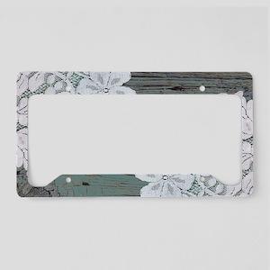 primitive lace teal barnwood License Plate Holder