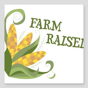 "Farm Raised Square Car Magnet 3"" x 3"""