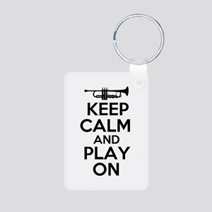 Keep Calm and Play On Trumpet Keychains