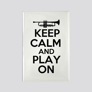 Keep Calm and Play On Trumpet Rectangle Magnet