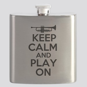 Keep Calm and Play On Trumpet Flask