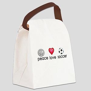 Peace,love,soccer Canvas Lunch Bag