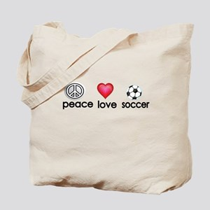 Peace,love,soccer Tote Bag