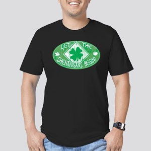 Shenanigans Begin Green Men's Fitted T-Shirt (dark