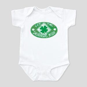 Shenanigans Begin Green Infant Bodysuit